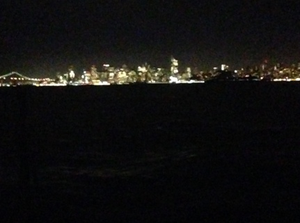 First view of SF skyline at night from S/V Gone Tomorrow.